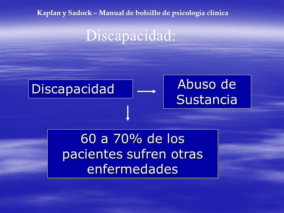 Kaplan y Sadock – Manual de bolsillo de psicología clínica Discapacidad: Discapacidad Abuso de Sustancia 60 a 70% de los pacientes sufren otras enferm