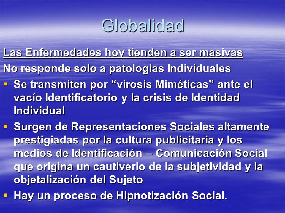 Globalidad Las Enfermedades hoy tienden a ser masivas No responde solo a patologías Individuales Se transmiten por virosis Miméticas ante el vacío Ide