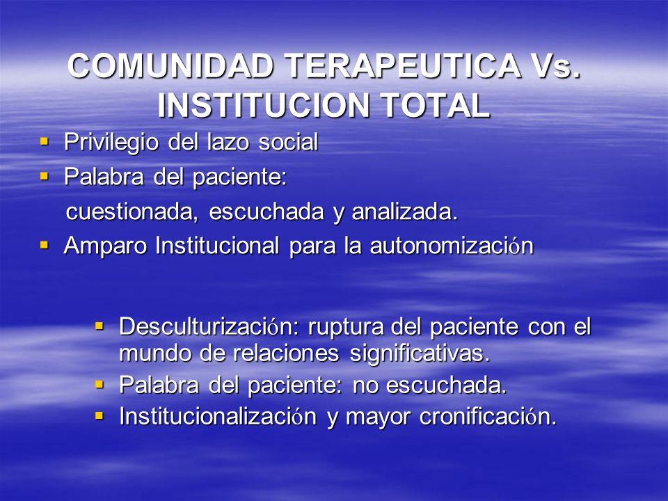 COMUNIDAD TERAPEUTICA Vs. INSTITUCION TOTAL Privilegio del lazo social Privilegio del lazo social Palabra del paciente: Palabra del paciente: cuestion