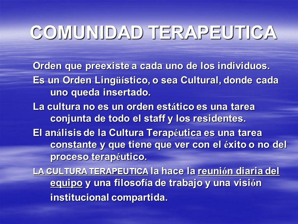 COMUNIDAD TERAPEUTICA Orden que preexiste a cada uno de los individuos. Es un Orden Ling üí stico, o sea Cultural, donde cada uno queda insertado. La