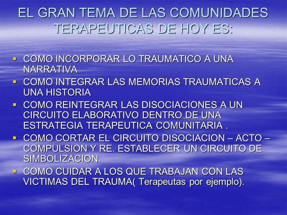 EL GRAN TEMA DE LAS COMUNIDADES TERAPEUTICAS DE HOY ES: COMO INCORPORAR LO TRAUMATICO A UNA NARRATIVA COMO INCORPORAR LO TRAUMATICO A UNA NARRATIVA CO