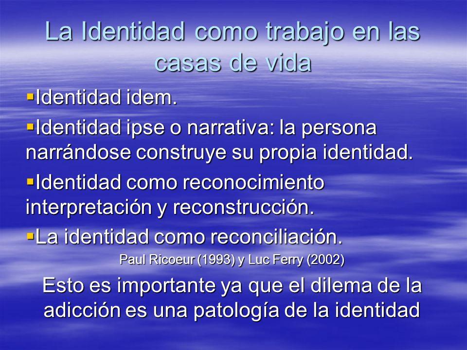 La Identidad como trabajo en las casas de vida Identidad idem. Identidad idem. Identidad ipse o narrativa: la persona narrándose construye su propia i