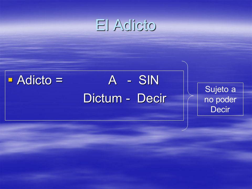 El Adicto Adicto = A - SIN Adicto = A - SIN Dictum - Decir Dictum - Decir Sujeto a no poder Decir