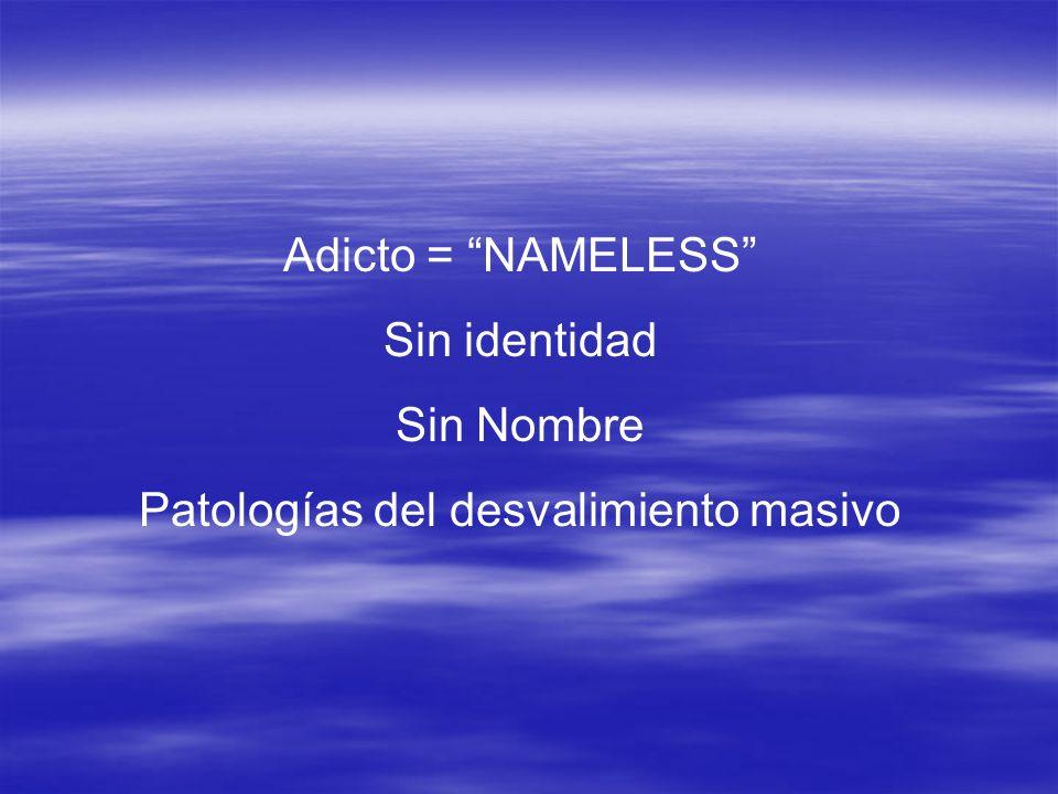 Adicto = NAMELESS Sin identidad Sin Nombre Patologías del desvalimiento masivo