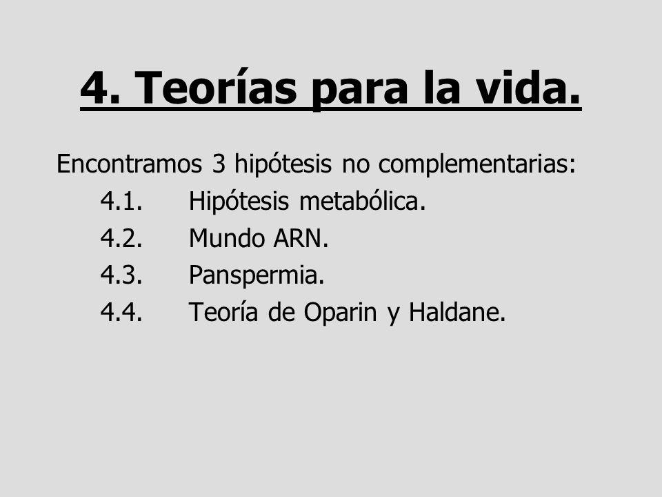 4. Teorías para la vida. Encontramos 3 hipótesis no complementarias: 4.1.Hipótesis metabólica. 4.2.Mundo ARN. 4.3.Panspermia. 4.4.Teoría de Oparin y H