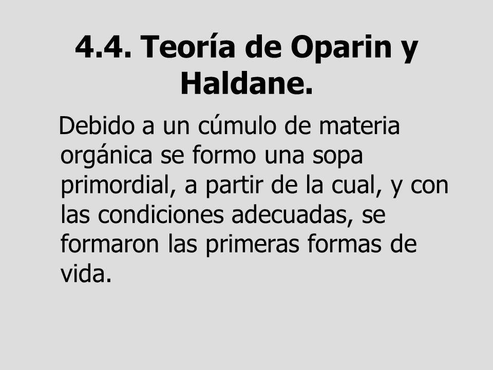 4.4. Teoría de Oparin y Haldane. Debido a un cúmulo de materia orgánica se formo una sopa primordial, a partir de la cual, y con las condiciones adecu