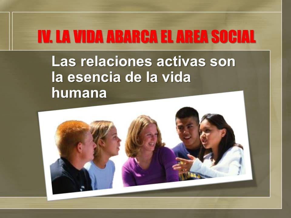 IV. LA VIDA ABARCA EL AREA SOCIAL Las relaciones activas son la esencia de la vida humana