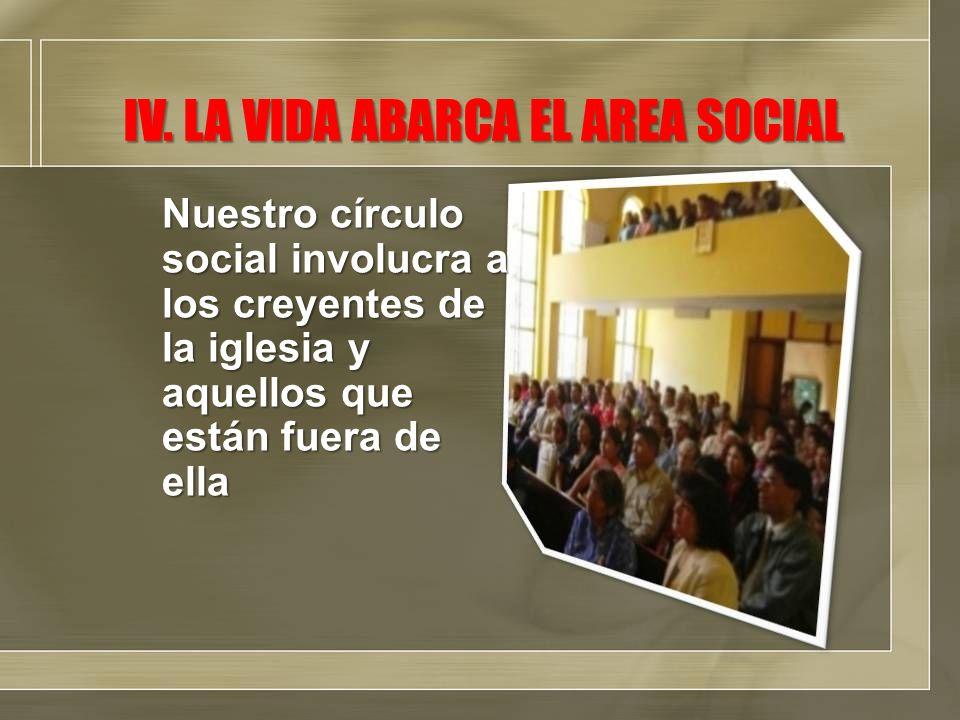 IV. LA VIDA ABARCA EL AREA SOCIAL Nuestro círculo social involucra a los creyentes de la iglesia y aquellos que están fuera de ella
