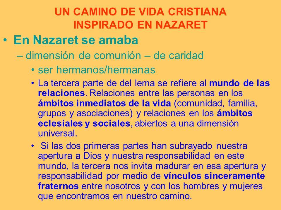 UN CAMINO DE VIDA CRISTIANA INSPIRADO EN NAZARET En Nazaret se amaba –dimensión de comunión – de caridad ser hermanos/hermanas La tercera parte de del