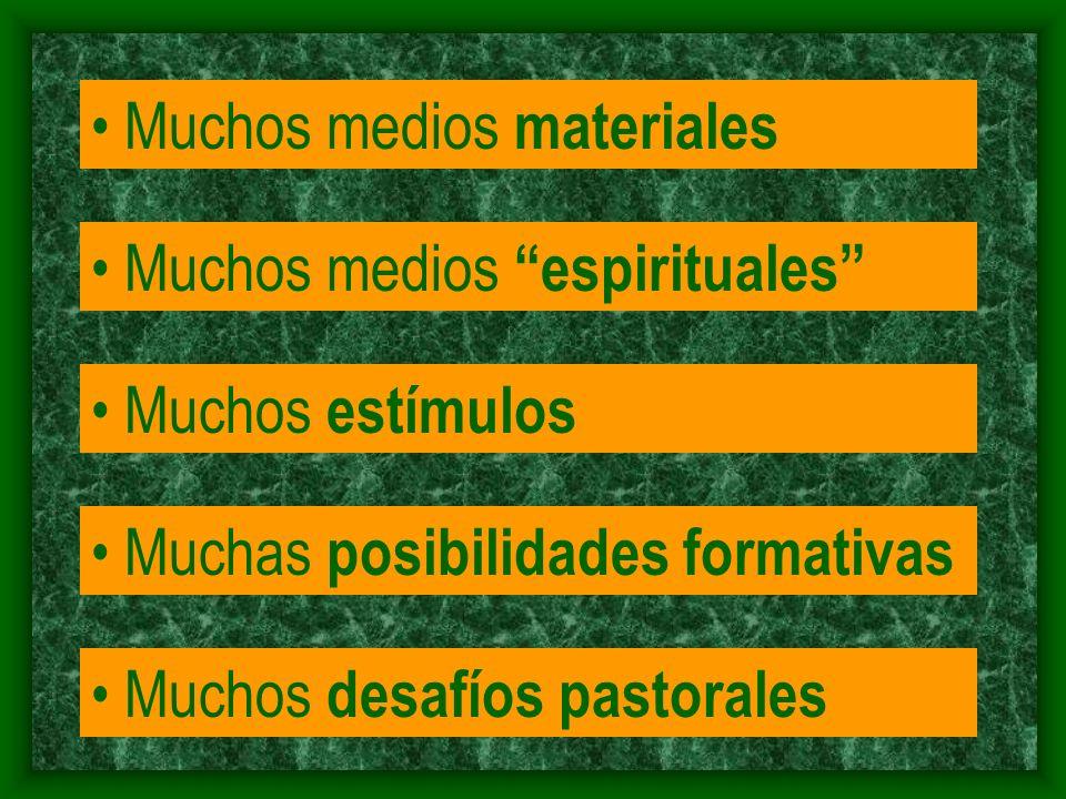 Muchos medios materiales Muchos medios espirituales Muchos estímulos Muchas posibilidades formativas Muchos desafíos pastorales