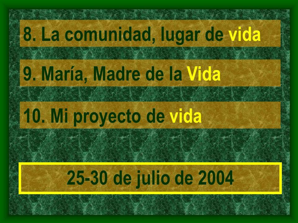 8. La comunidad, lugar de vida 9. María, Madre de la Vida 10.