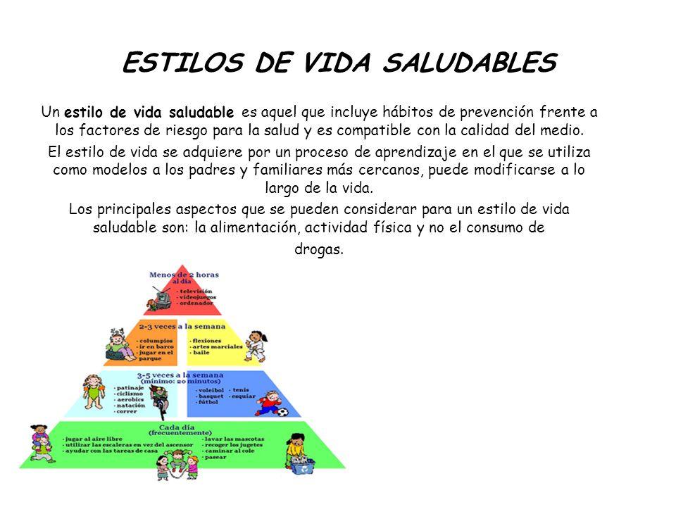ESTILOS DE VIDA SALUDABLES Un estilo de vida saludable es aquel que incluye hábitos de prevención frente a los factores de riesgo para la salud y es c
