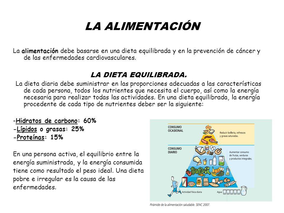 LA ALIMENTACIÓN La alimentación debe basarse en una dieta equilibrada y en la prevención de cáncer y de las enfermedades cardiovasculares. LA DIETA EQ