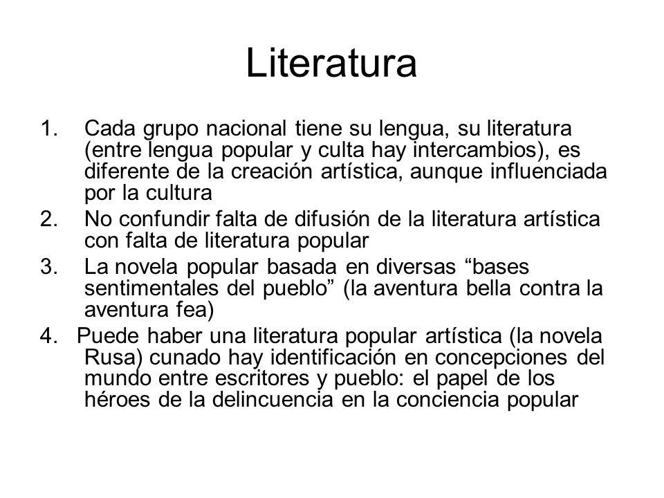 Literatura 1.Cada grupo nacional tiene su lengua, su literatura (entre lengua popular y culta hay intercambios), es diferente de la creación artística