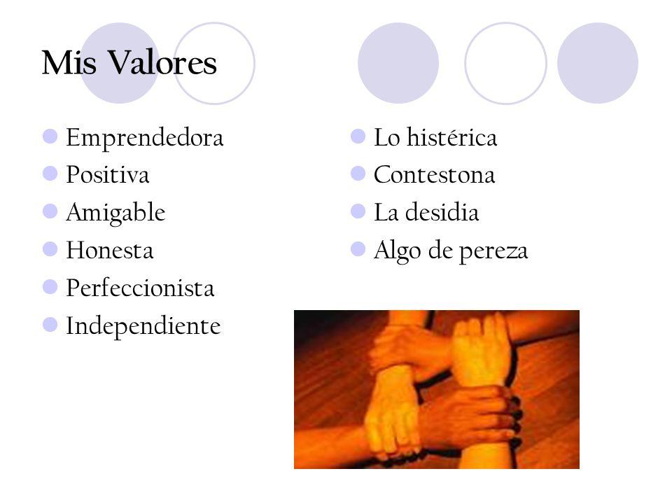 Mis Valores Emprendedora Positiva Amigable Honesta Perfeccionista Independiente Lo histérica Contestona La desidia Algo de pereza