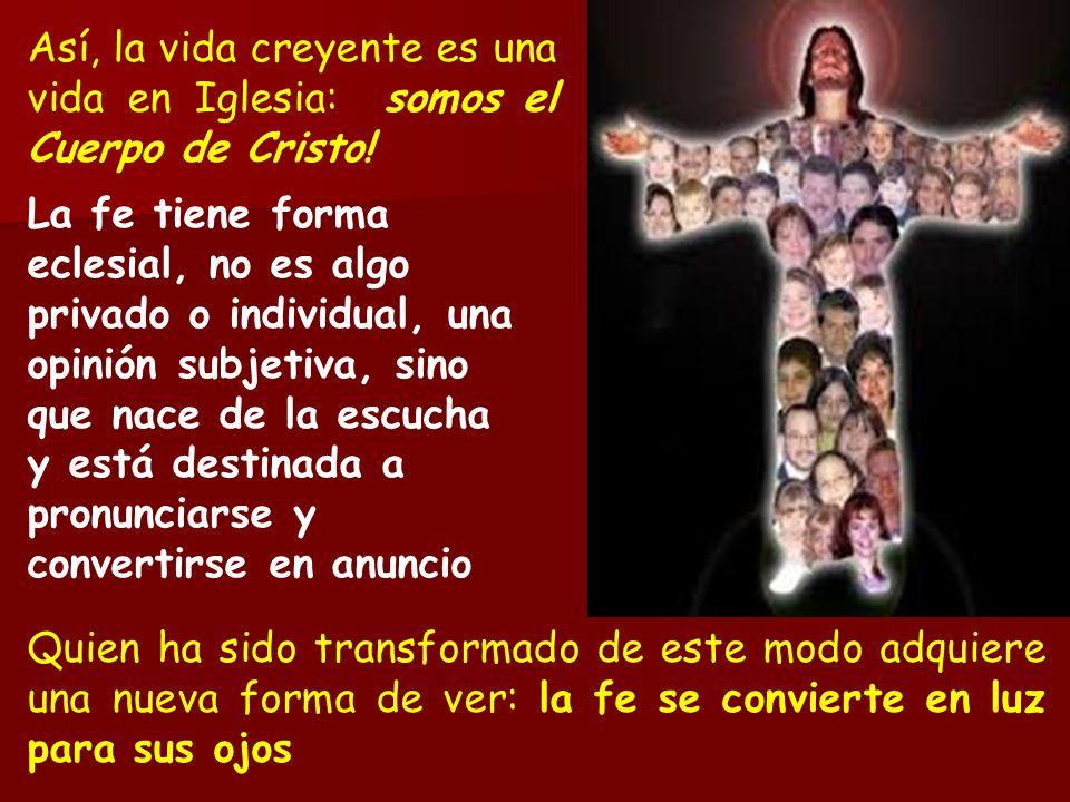 Así, la vida creyente es una vida en Iglesia: somos el Cuerpo de Cristo! La fe tiene forma eclesial, no es algo privado o individual, una opinión subj