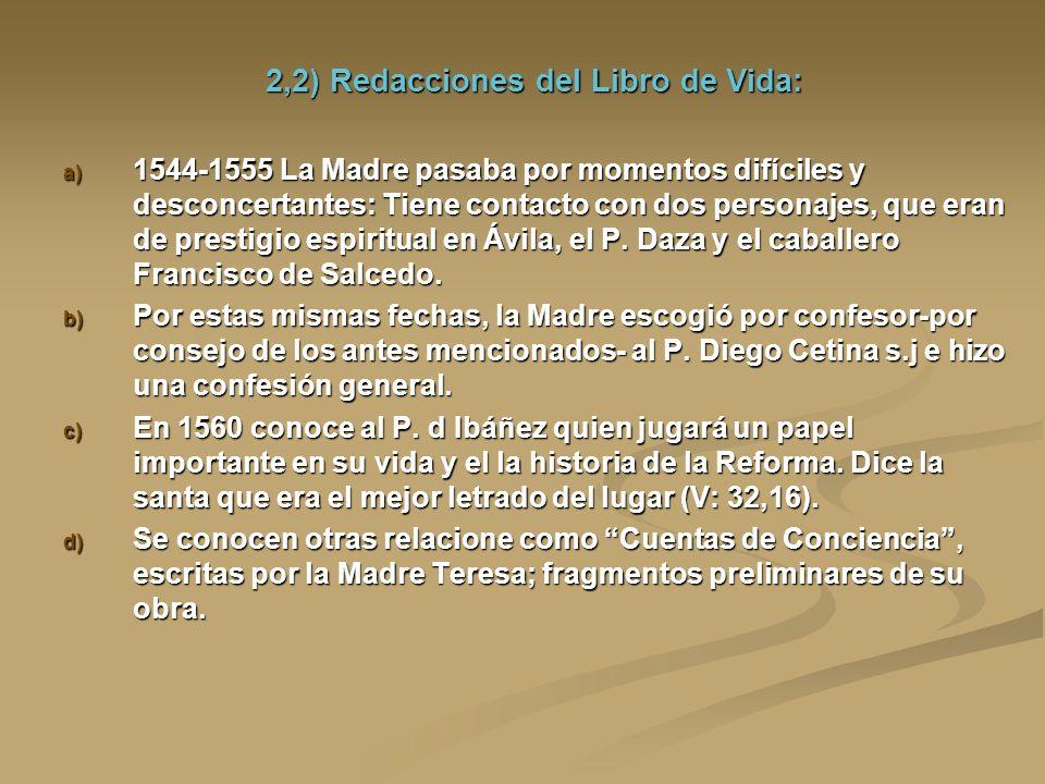 2,2) Redacciones del Libro de Vida: a) 1544-1555 La Madre pasaba por momentos difíciles y desconcertantes: Tiene contacto con dos personajes, que eran