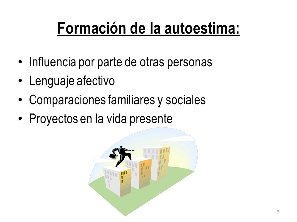 Formación de la autoestima: Influencia por parte de otras personas Lenguaje afectivo Comparaciones familiares y sociales Proyectos en la vida presente