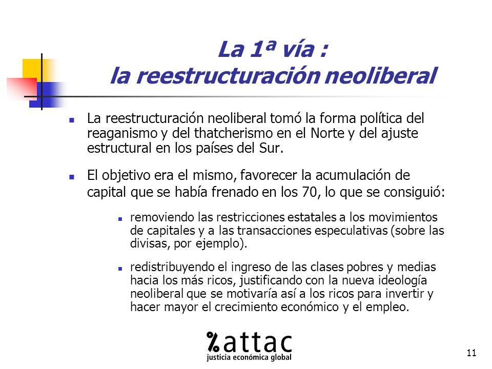 11 La 1ª vía : la reestructuración neoliberal La reestructuración neoliberal tomó la forma política del reaganismo y del thatcherismo en el Norte y del ajuste estructural en los países del Sur.