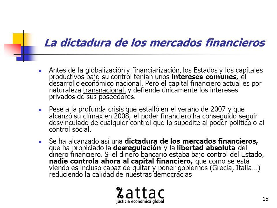 15 La dictadura de los mercados financieros Antes de la globalización y financiarización, los Estados y los capitales productivos bajo su control tenían unos intereses comunes, el desarrollo económico nacional.