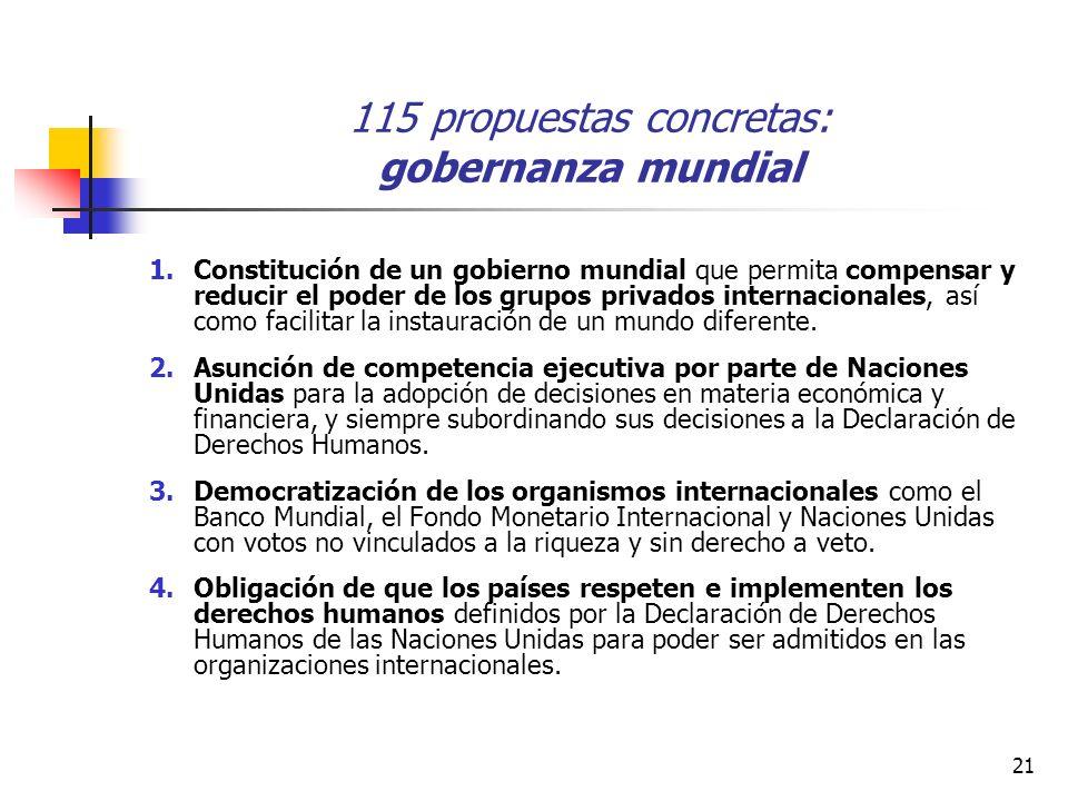 21 115 propuestas concretas: gobernanza mundial 1.Constitución de un gobierno mundial que permita compensar y reducir el poder de los grupos privados internacionales, así como facilitar la instauración de un mundo diferente.