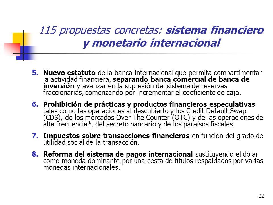 22 115 propuestas concretas: sistema financiero y monetario internacional 5.Nuevo estatuto de la banca internacional que permita compartimentar la actividad financiera, separando banca comercial de banca de inversión y avanzar en la supresión del sistema de reservas fraccionarias, comenzando por incrementar el coeficiente de caja.