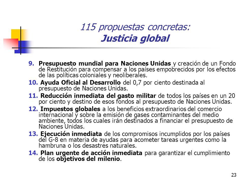 23 115 propuestas concretas: Justicia global 9.Presupuesto mundial para Naciones Unidas y creación de un Fondo de Restitución para compensar a los países empobrecidos por los efectos de las políticas coloniales y neoliberales.