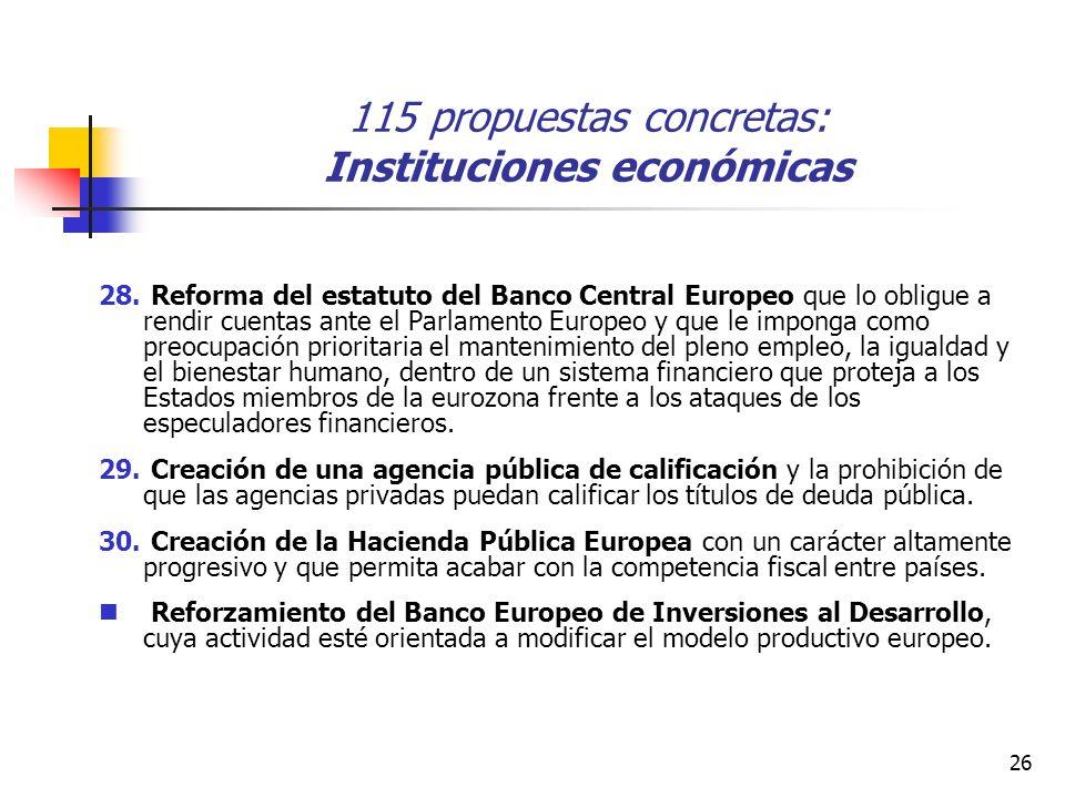 26 115 propuestas concretas: Instituciones económicas 28.