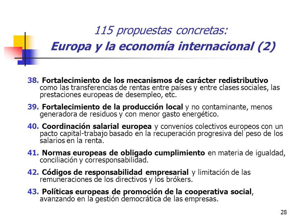 28 115 propuestas concretas: Europa y la economía internacional (2) 38.