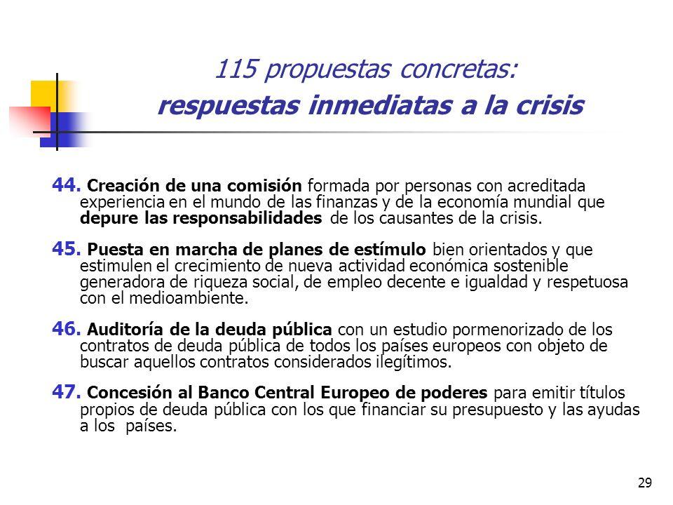 29 115 propuestas concretas: respuestas inmediatas a la crisis 44.