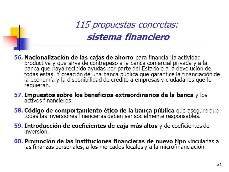 31 115 propuestas concretas: sistema financiero 56.Nacionalización de las cajas de ahorro para financiar la actividad productiva y que sirva de contrapeso a la banca comercial privada y a la banca que haya recibido ayudas por parte del Estado o a la devolución de todas estas.