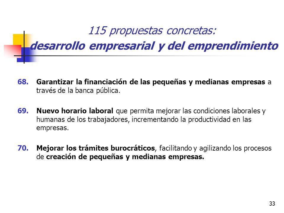 33 115 propuestas concretas: desarrollo empresarial y del emprendimiento 68.Garantizar la financiación de las pequeñas y medianas empresas a través de la banca pública.
