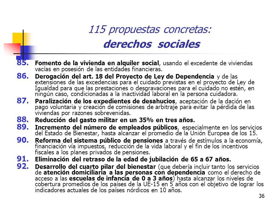 36 115 propuestas concretas: derechos sociales 85.