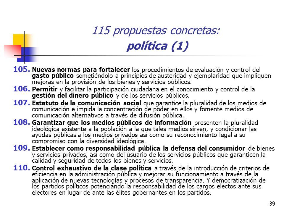 39 115 propuestas concretas: política (1) 105.