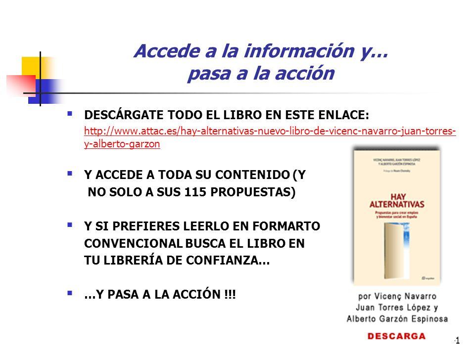41 Accede a la información y… pasa a la acción DESCÁRGATE TODO EL LIBRO EN ESTE ENLACE: http://www.attac.es/hay-alternativas-nuevo-libro-de-vicenc-navarro-juan-torres- y-alberto-garzon Y ACCEDE A TODA SU CONTENIDO (Y NO SOLO A SUS 115 PROPUESTAS) Y SI PREFIERES LEERLO EN FORMARTO CONVENCIONAL BUSCA EL LIBRO EN TU LIBRERÍA DE CONFIANZA… …Y PASA A LA ACCIÓN !!!
