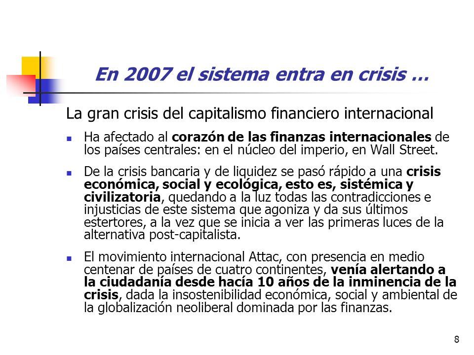 8 En 2007 el sistema entra en crisis … La gran crisis del capitalismo financiero internacional Ha afectado al corazón de las finanzas internacionales de los países centrales: en el núcleo del imperio, en Wall Street.