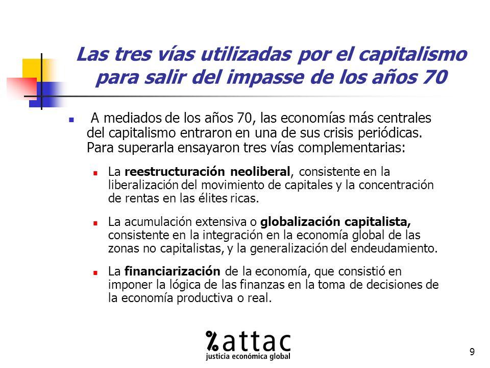 9 Las tres vías utilizadas por el capitalismo para salir del impasse de los años 70 A mediados de los años 70, las economías más centrales del capitalismo entraron en una de sus crisis periódicas.