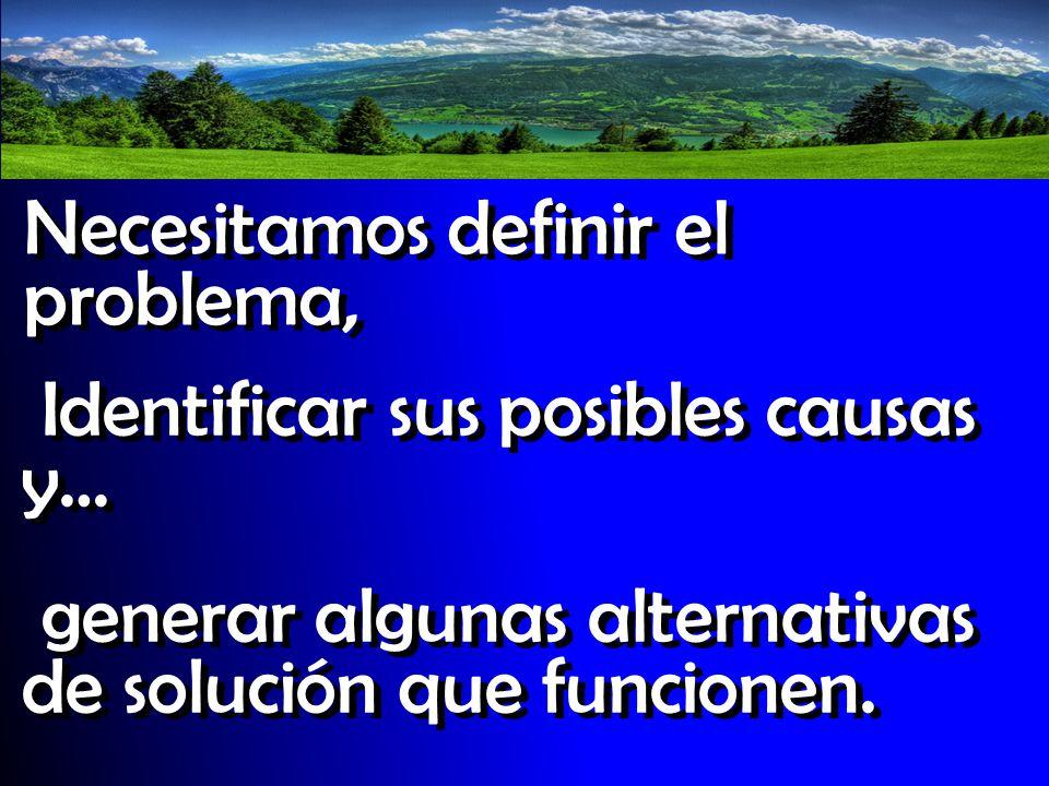 Necesitamos definir el problema, Identificar sus posibles causas y… generar algunas alternativas de solución que funcionen.