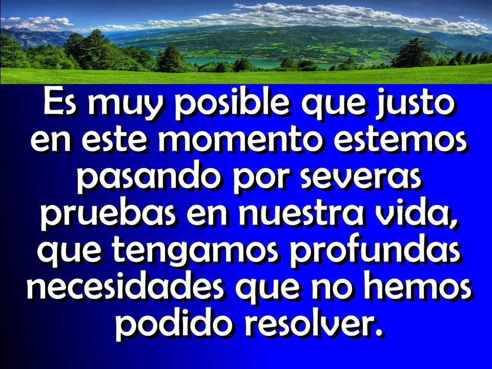 Es muy posible que justo en este momento estemos pasando por severas pruebas en nuestra vida, que tengamos profundas necesidades que no hemos podido r