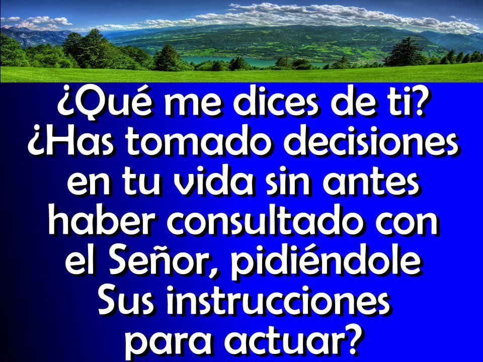 ¿Qué me dices de ti? ¿Has tomado decisiones en tu vida sin antes haber consultado con el Señor, pidiéndole Sus instrucciones para actuar?
