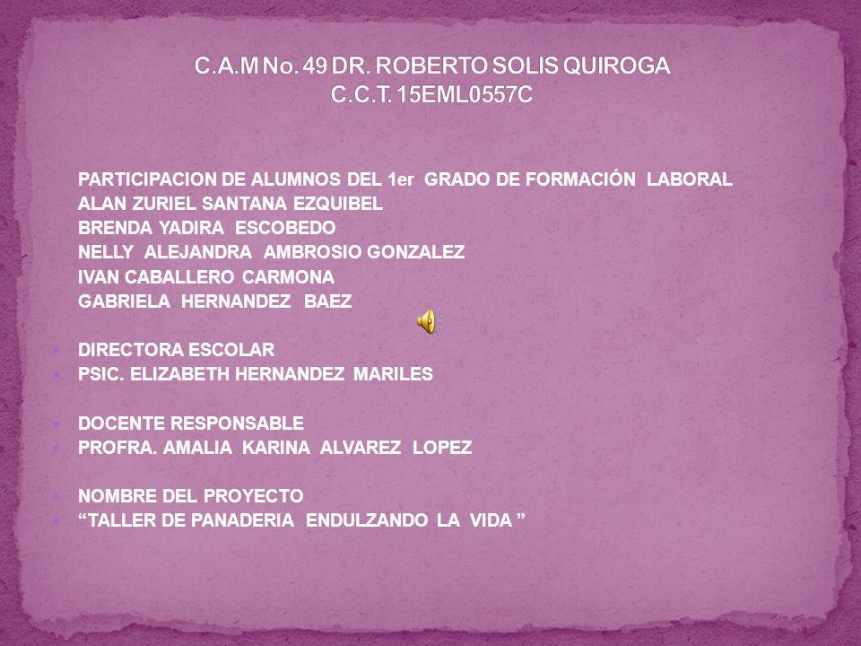 - PARTICIPACION DE ALUMNOS DEL 1er GRADO DE FORMACIÓN LABORAL - ALAN ZURIEL SANTANA EZQUIBEL - BRENDA YADIRA ESCOBEDO - NELLY ALEJANDRA AMBROSIO GONZALEZ - IVAN CABALLERO CARMONA - GABRIELA HERNANDEZ BAEZ DIRECTORA ESCOLAR PSIC.