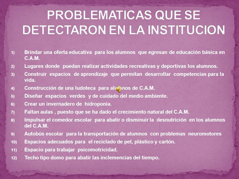 1) Brindar una oferta educativa para los alumnos que egresan de educación básica en C.A.M.