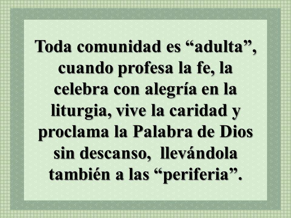 Toda comunidad es adulta, cuando profesa la fe, la celebra con alegría en la liturgia, vive la caridad y proclama la Palabra de Dios sin descanso, lle