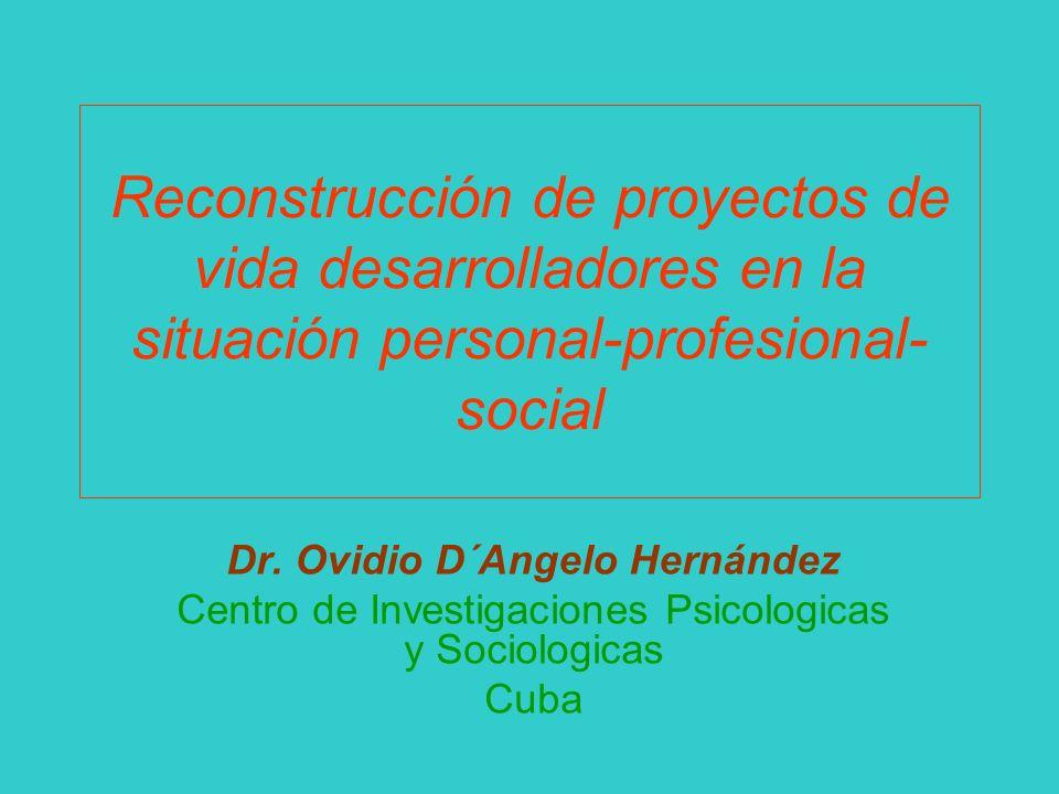 Reconstrucción de proyectos de vida desarrolladores en la situación personal-profesional- social Dr. Ovidio D´Angelo Hernández Centro de Investigacion
