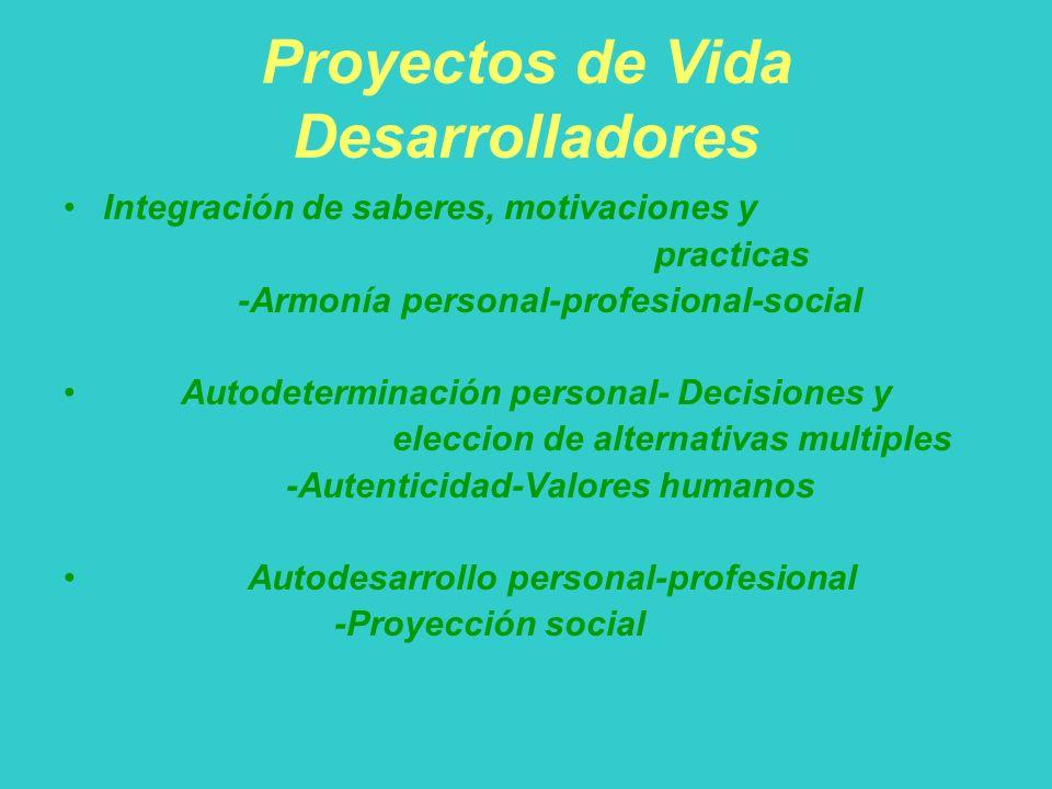 Proyectos de Vida Desarrolladores Integración de saberes, motivaciones y practicas -Armonía personal-profesional-social Autodeterminación personal- De