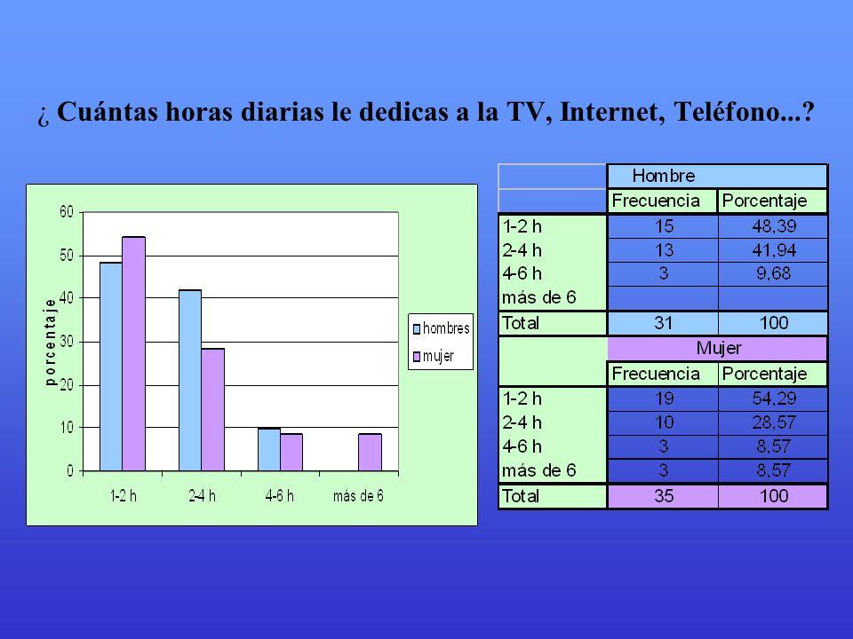 ¿ Cuántas horas diarias le dedicas a la TV, Internet, Teléfono...