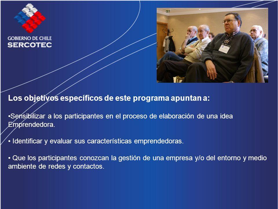 Los objetivos específicos de este programa apuntan a: Sensibilizar a los participantes en el proceso de elaboración de una idea Emprendedora.