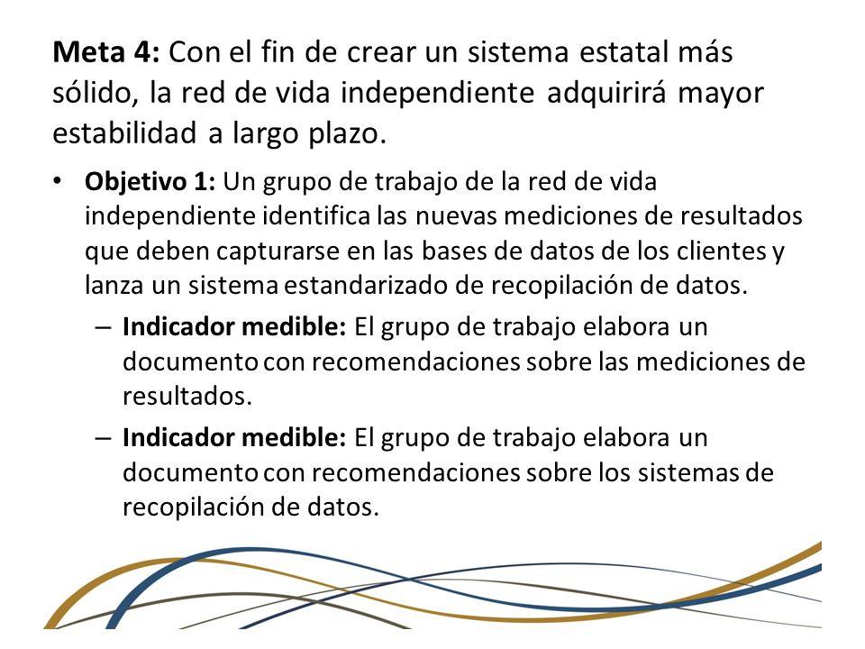 Meta 4: Con el fin de crear un sistema estatal más sólido, la red de vida independiente adquirirá mayor estabilidad a largo plazo. Objetivo 1: Un grup