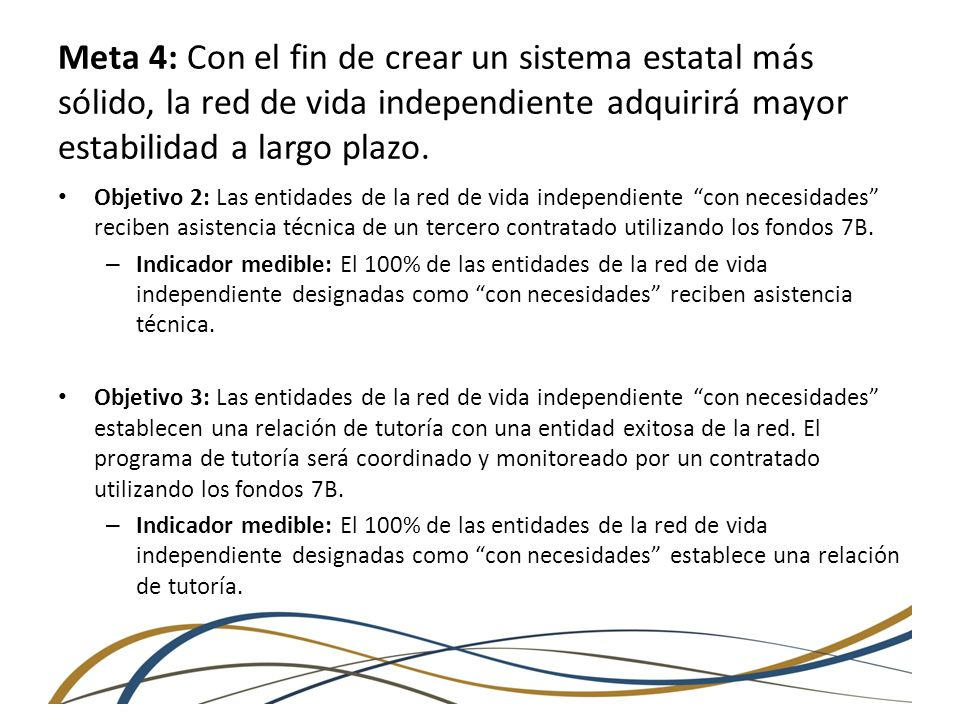 Meta 4: Con el fin de crear un sistema estatal más sólido, la red de vida independiente adquirirá mayor estabilidad a largo plazo.