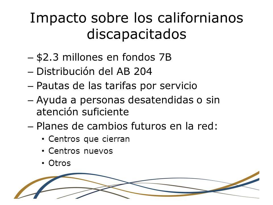 Impacto sobre los californianos discapacitados – $2.3 millones en fondos 7B – Distribución del AB 204 – Pautas de las tarifas por servicio – Ayuda a personas desatendidas o sin atención suficiente – Planes de cambios futuros en la red: Centros que cierran Centros nuevos Otros